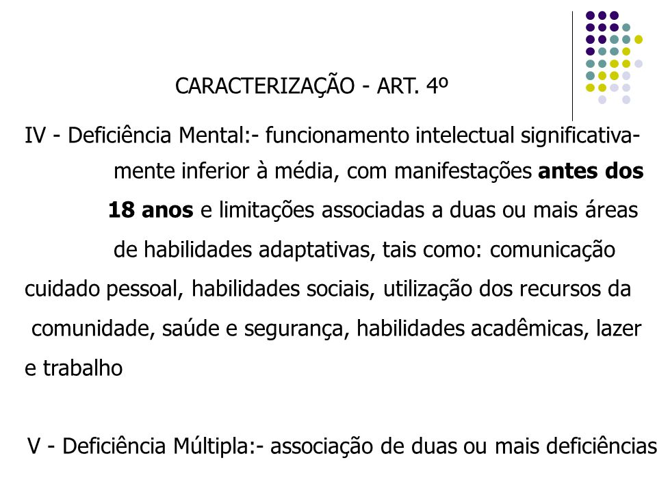 CARACTERIZAÇÃO - ART. 4º IV - Deficiência Mental:- funcionamento intelectual significativa- mente inferior à média, com manifestações antes dos.