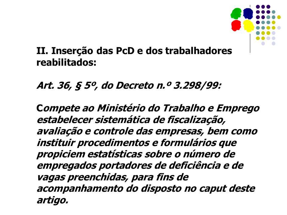 II. Inserção das PcD e dos trabalhadores reabilitados: