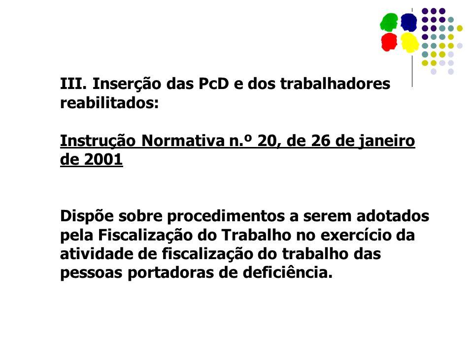 III. Inserção das PcD e dos trabalhadores reabilitados:
