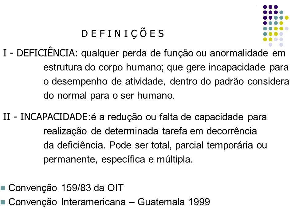 D E F I N I Ç Õ E S I - DEFICIÊNCIA: qualquer perda de função ou anormalidade em. estrutura do corpo humano; que gere incapacidade para.