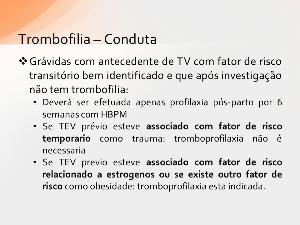 Trombofilia – Conduta Grávidas com antecedente de TV com fator de risco transitório bem identificado e que após investigação não tem trombofilia: