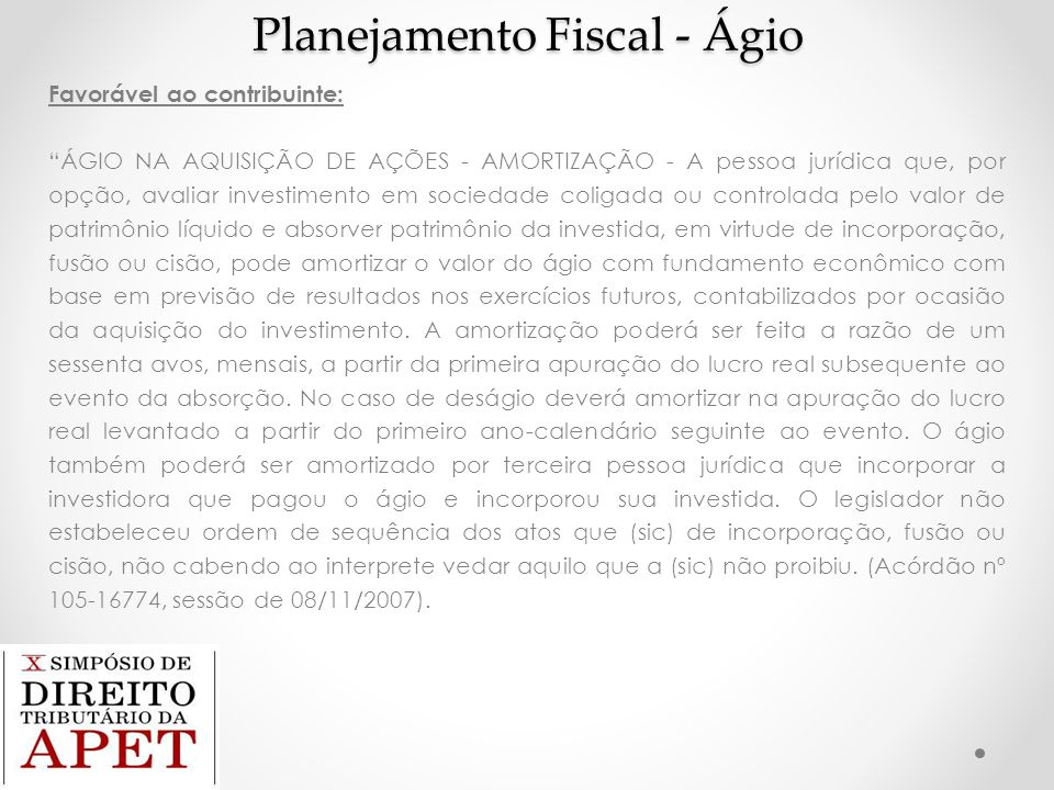 Planejamento Fiscal - Ágio