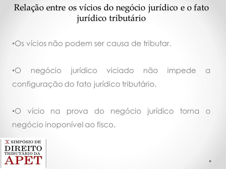 Relação entre os vícios do negócio jurídico e o fato jurídico tributário