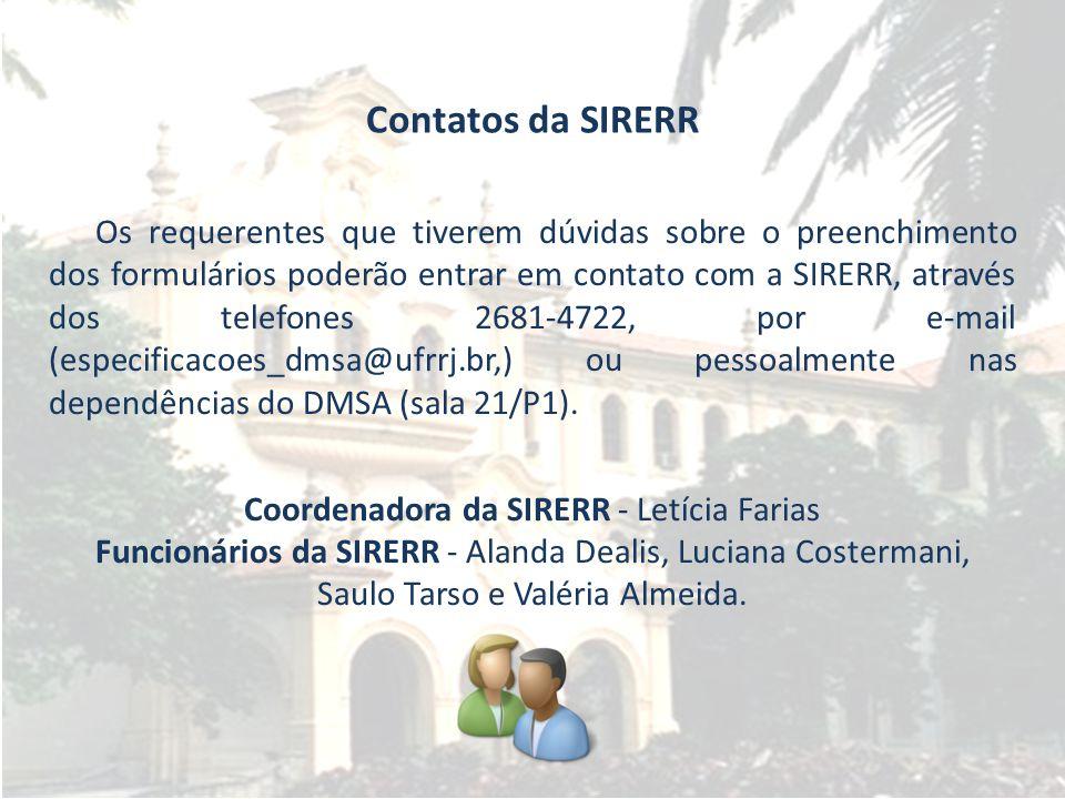 Contatos da SIRERR