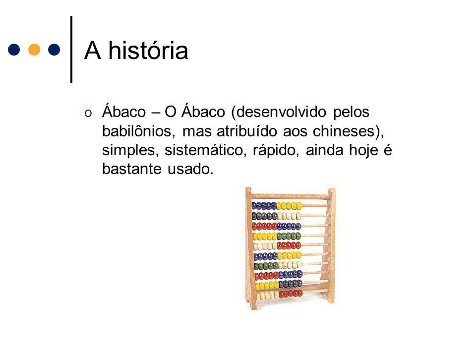 A história Ábaco – O Ábaco (desenvolvido pelos babilônios, mas atribuído aos chineses), simples, sistemático, rápido, ainda hoje é bastante usado.