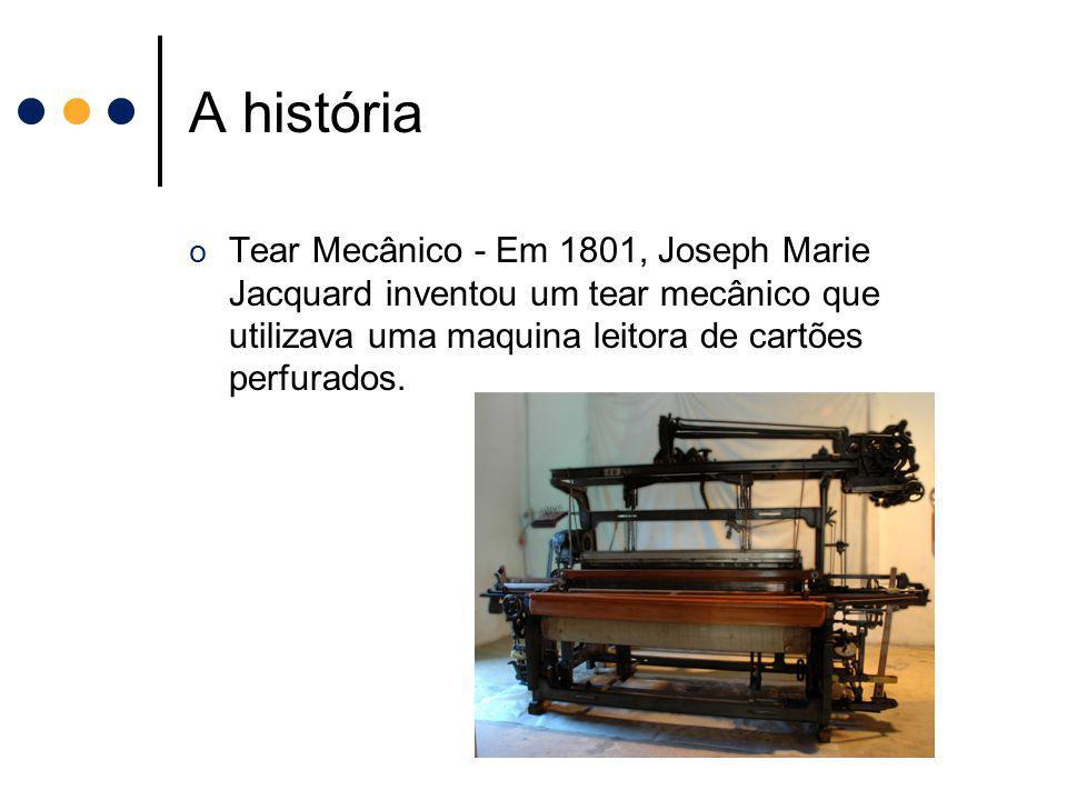 A história Tear Mecânico - Em 1801, Joseph Marie Jacquard inventou um tear mecânico que utilizava uma maquina leitora de cartões perfurados.