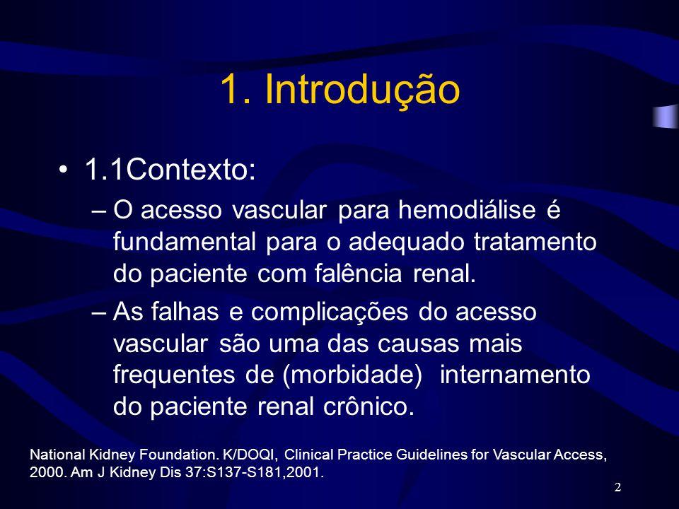 1. Introdução 1.1Contexto: O acesso vascular para hemodiálise é fundamental para o adequado tratamento do paciente com falência renal.