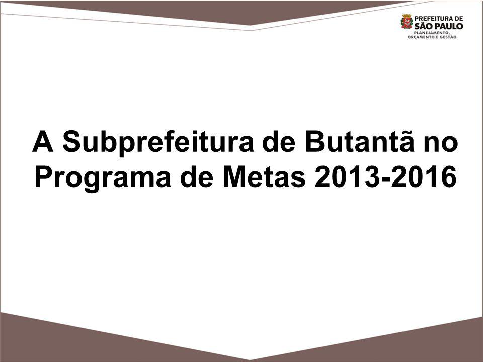 A Subprefeitura de Butantã no Programa de Metas 2013-2016