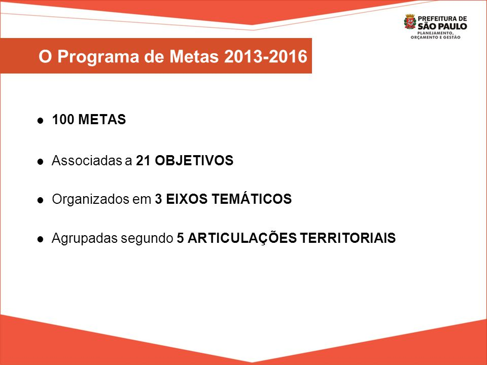 O Programa de Metas 2013-2016 100 METAS Associadas a 21 OBJETIVOS