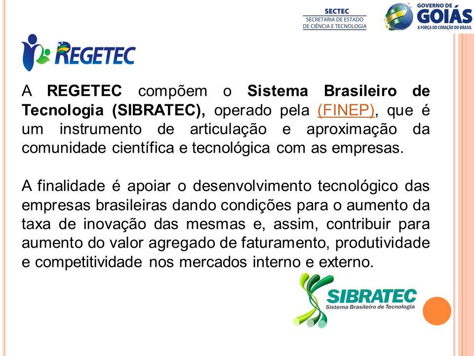 A REGETEC compõem o Sistema Brasileiro de Tecnologia (SIBRATEC), operado pela (FINEP), que é um instrumento de articulação e aproximação da comunidade científica e tecnológica com as empresas.