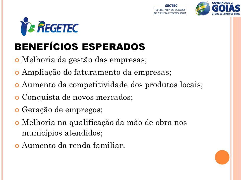 BENEFÍCIOS ESPERADOS Melhoria da gestão das empresas;
