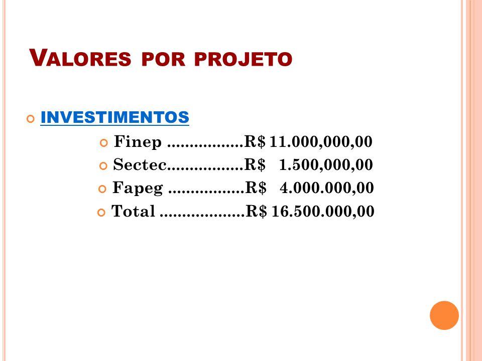 Valores por projeto INVESTIMENTOS