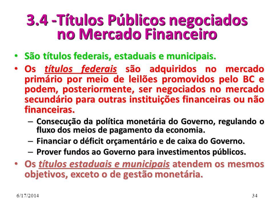 3.4 -Títulos Públicos negociados no Mercado Financeiro
