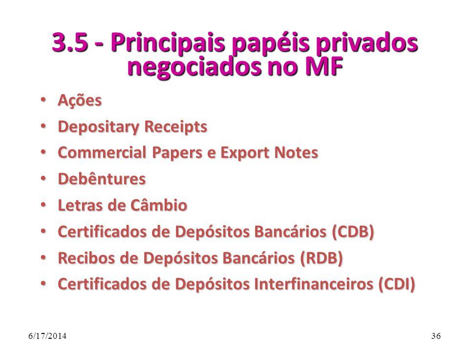 3.5 - Principais papéis privados negociados no MF