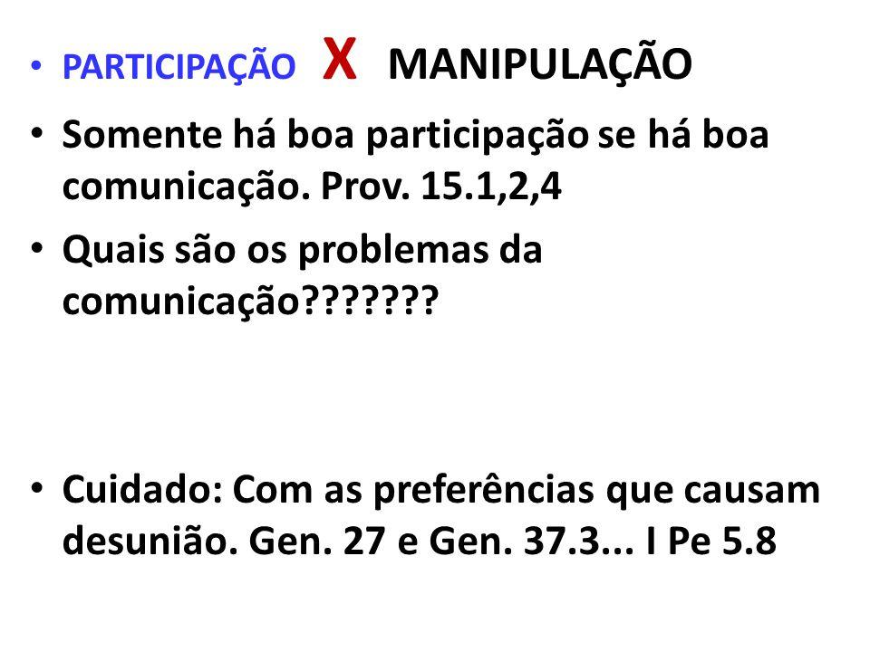 Somente há boa participação se há boa comunicação. Prov. 15.1,2,4