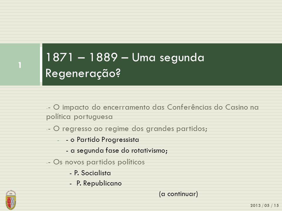 1871 – 1889 – Uma segunda Regeneração