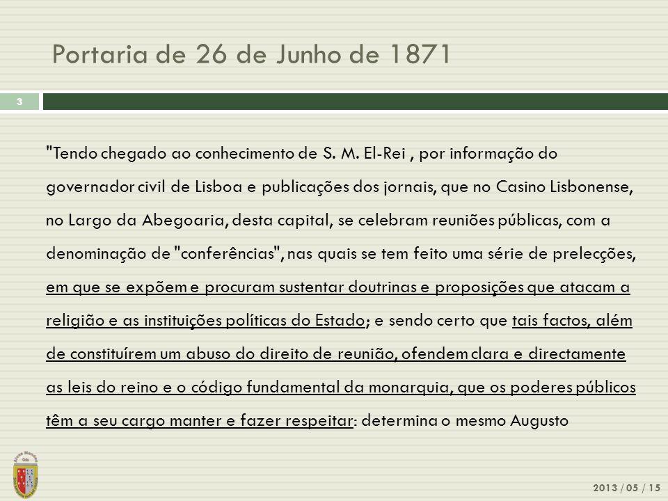 Portaria de 26 de Junho de 1871