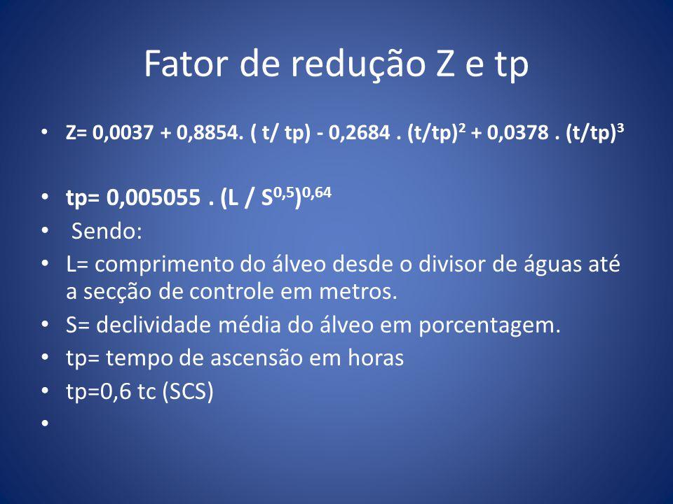 Fator de redução Z e tp tp= 0,005055 . (L / S0,5)0,64 Sendo: