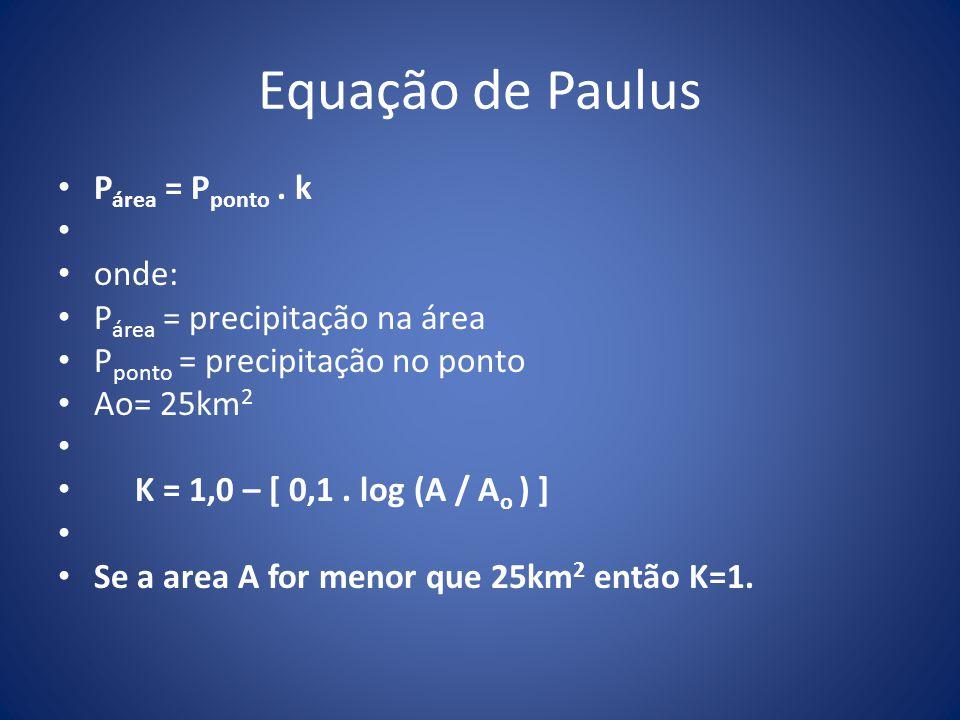 Equação de Paulus Párea = Pponto . k onde: