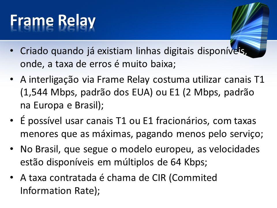 Frame Relay Criado quando já existiam linhas digitais disponíveis, onde, a taxa de erros é muito baixa;
