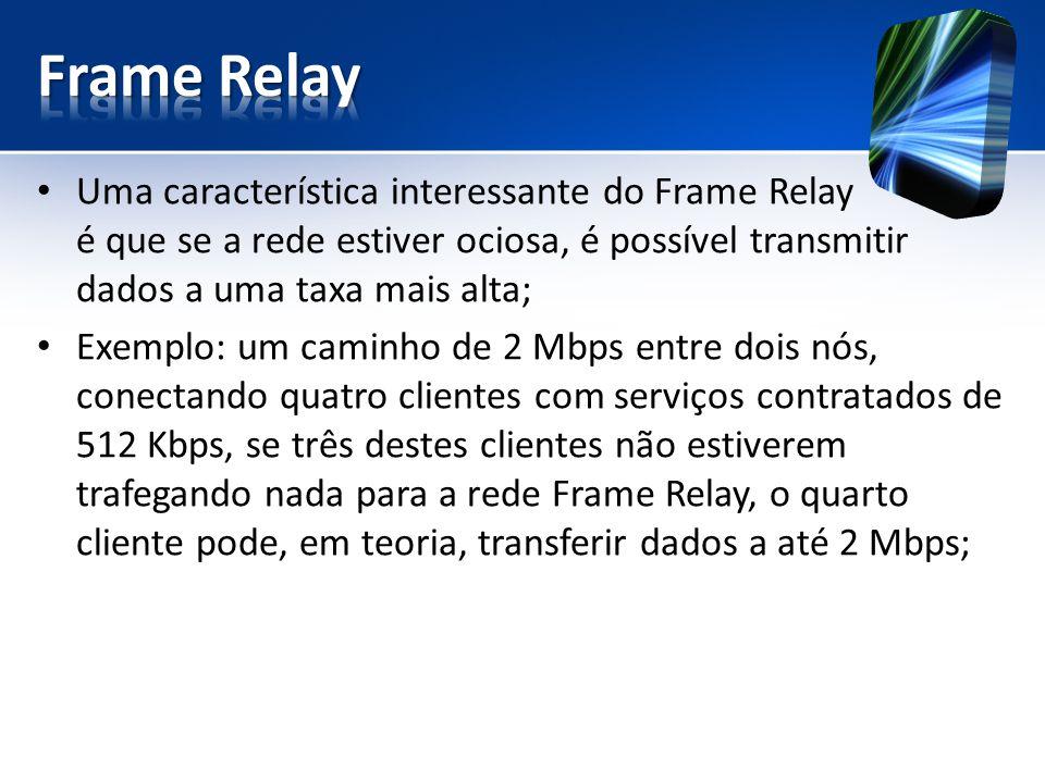 Frame Relay Uma característica interessante do Frame Relay é que se a rede estiver ociosa, é possível transmitir dados a uma taxa mais alta;