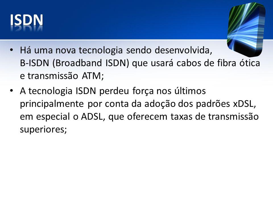ISDN Há uma nova tecnologia sendo desenvolvida, B-ISDN (Broadband ISDN) que usará cabos de fibra ótica e transmissão ATM;