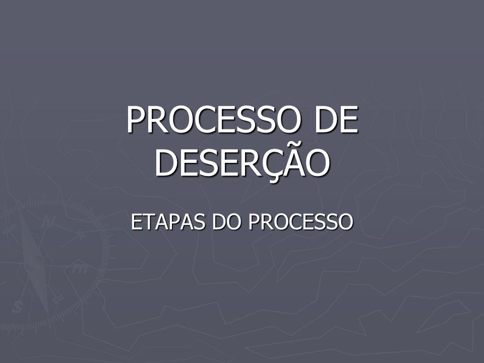 PROCESSO DE DESERÇÃO ETAPAS DO PROCESSO