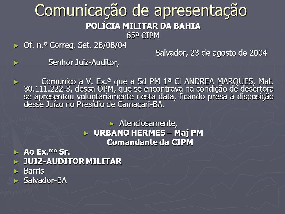 Comunicação de apresentação