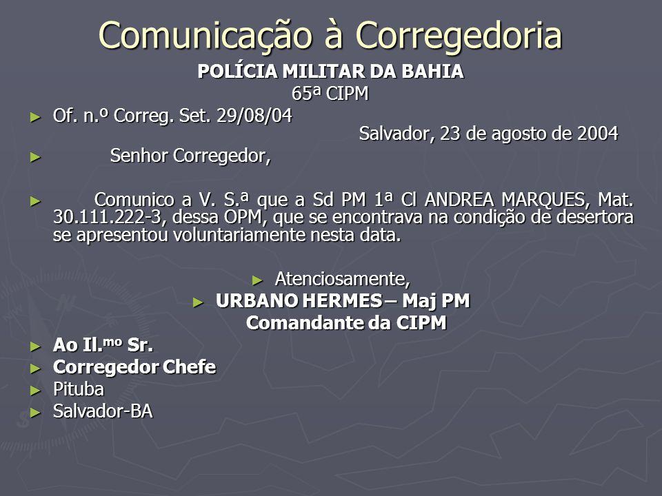 Comunicação à Corregedoria