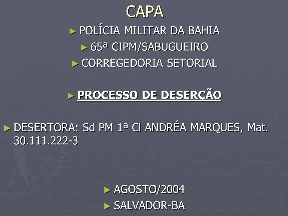 CAPA POLÍCIA MILITAR DA BAHIA 65ª CIPM/SABUGUEIRO