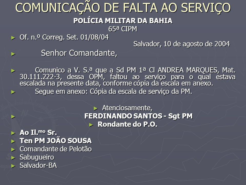 COMUNICAÇÃO DE FALTA AO SERVIÇO