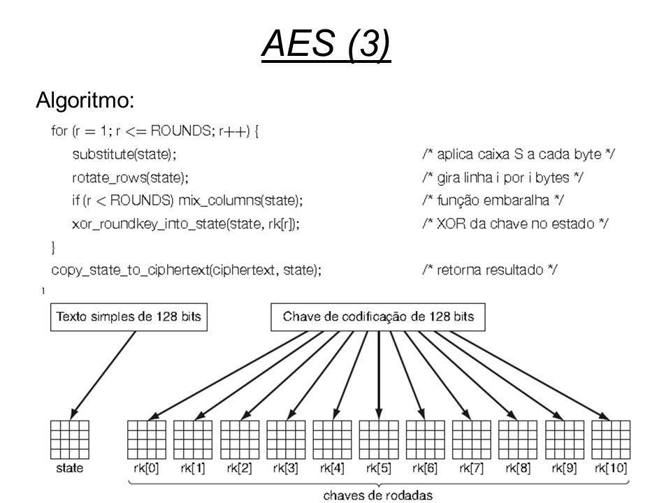 AES (3) Algoritmo: Segurança
