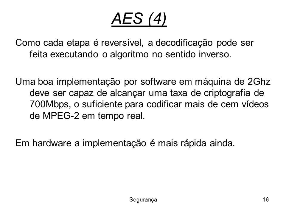 AES (4) Como cada etapa é reversível, a decodificação pode ser feita executando o algoritmo no sentido inverso.