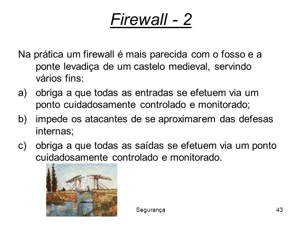 Firewall - 2 Na prática um firewall é mais parecida com o fosso e a ponte levadiça de um castelo medieval, servindo vários fins:
