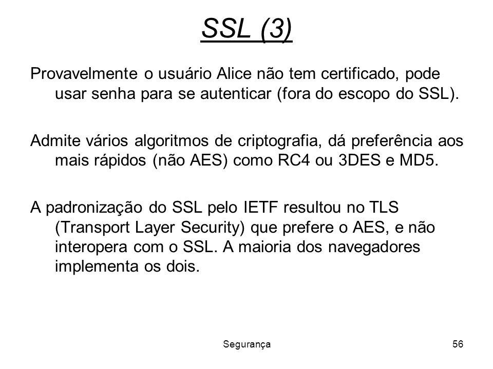 SSL (3) Provavelmente o usuário Alice não tem certificado, pode usar senha para se autenticar (fora do escopo do SSL).