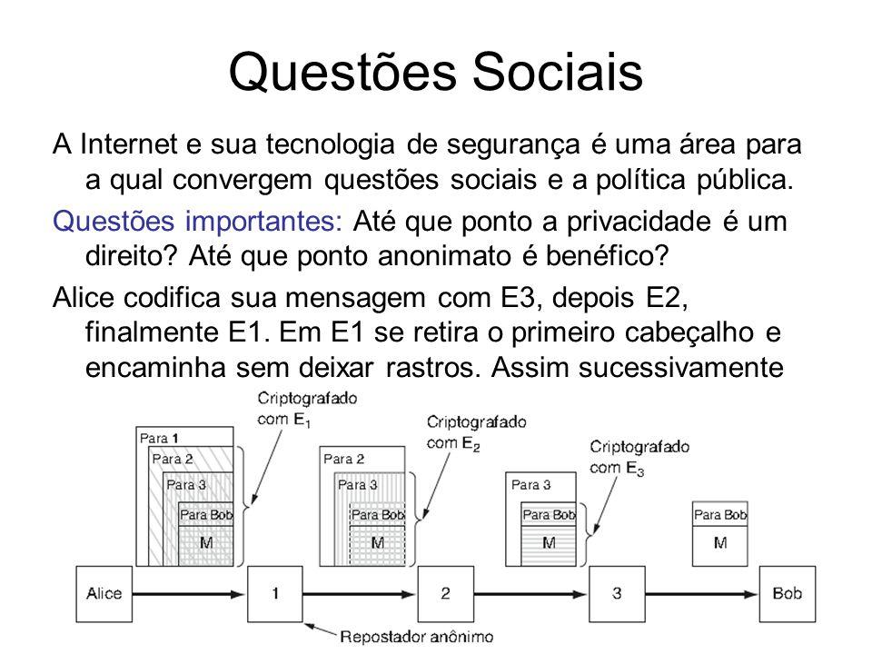 Questões Sociais A Internet e sua tecnologia de segurança é uma área para a qual convergem questões sociais e a política pública.