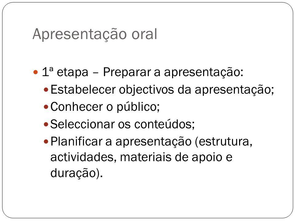 Apresentação oral 1ª etapa – Preparar a apresentação: