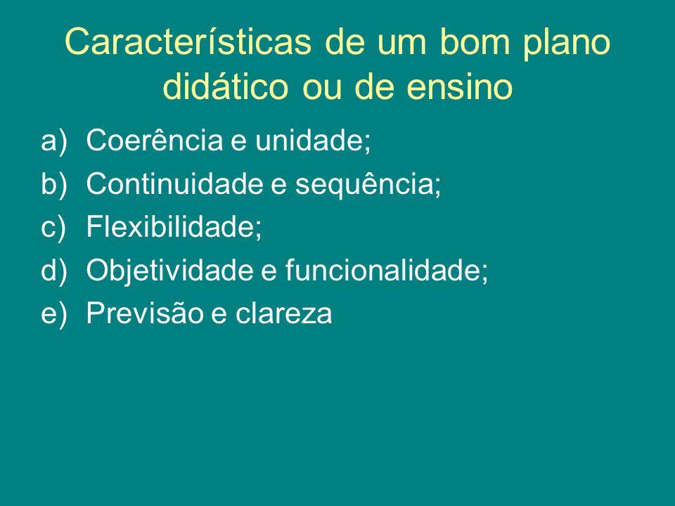 Características de um bom plano didático ou de ensino