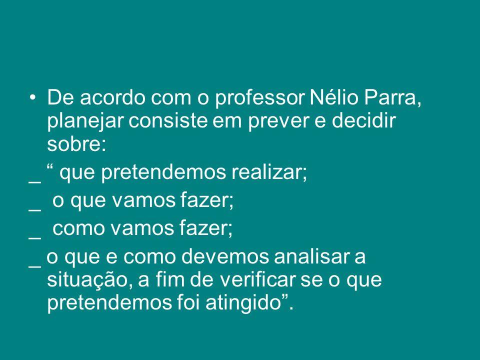 De acordo com o professor Nélio Parra, planejar consiste em prever e decidir sobre: