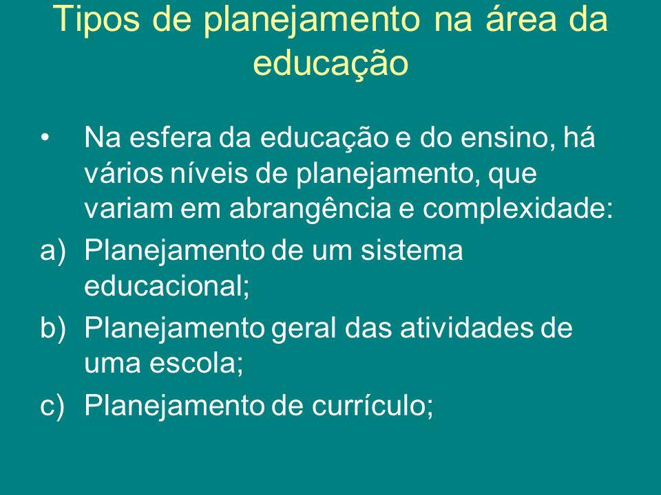Tipos de planejamento na área da educação