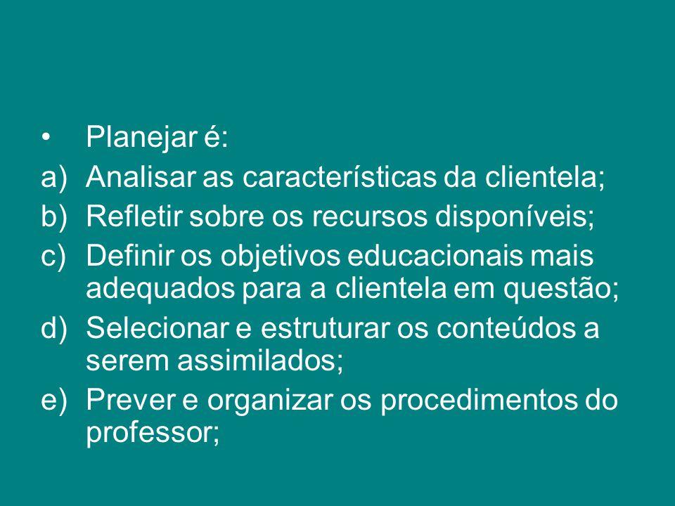 Planejar é: Analisar as características da clientela; Refletir sobre os recursos disponíveis;