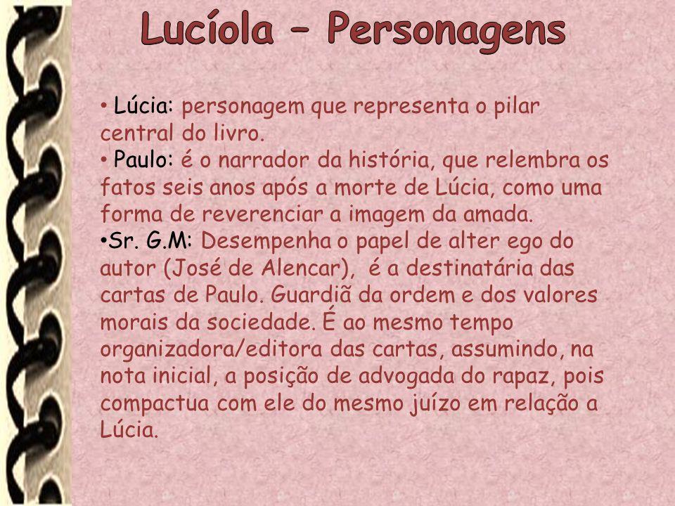 Lucíola – Personagens Lúcia: personagem que representa o pilar central do livro.