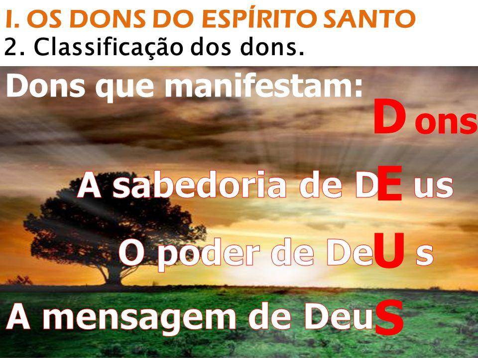 I. OS DONS DO ESPÍRITO SANTO