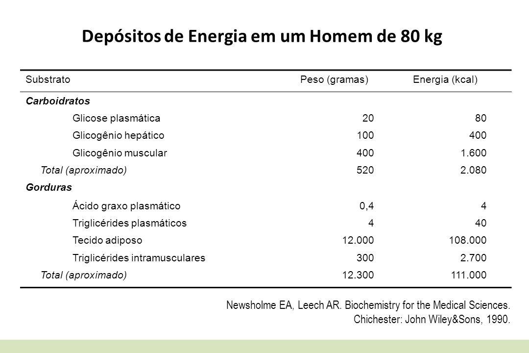Depósitos de Energia em um Homem de 80 kg