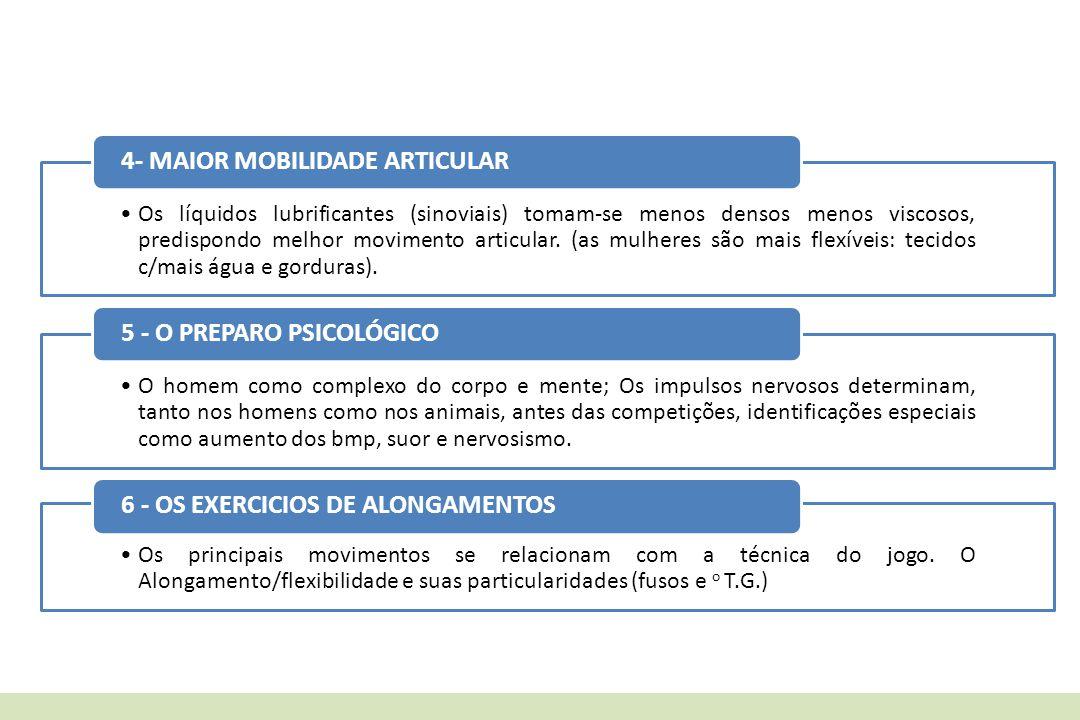 4- MAIOR MOBILIDADE ARTICULAR 5 - O PREPARO PSICOLÓGICO
