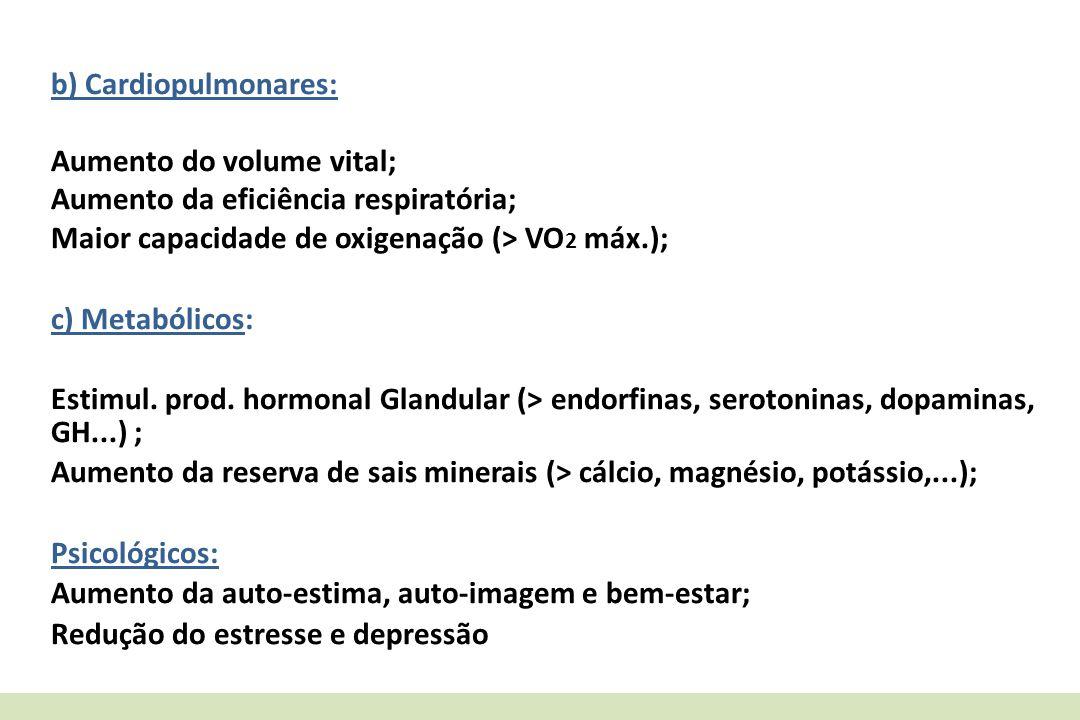 b) Cardiopulmonares: Aumento do volume vital; Aumento da eficiência respiratória; Maior capacidade de oxigenação (> VO2 máx.);