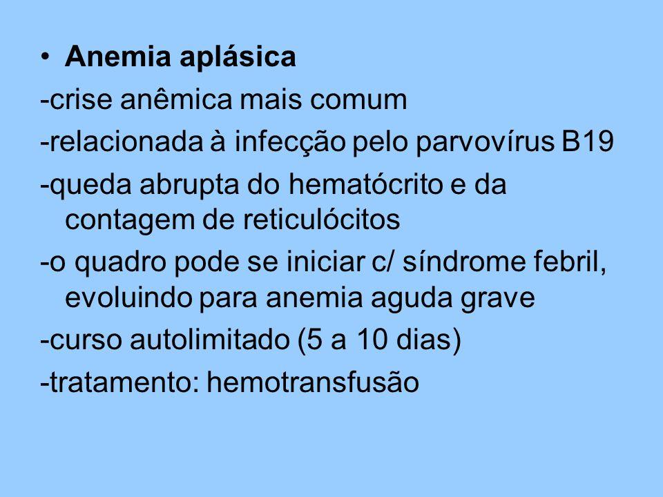 Anemia aplásica -crise anêmica mais comum. -relacionada à infecção pelo parvovírus B19.