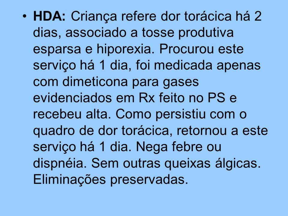 HDA: Criança refere dor torácica há 2 dias, associado a tosse produtiva esparsa e hiporexia.