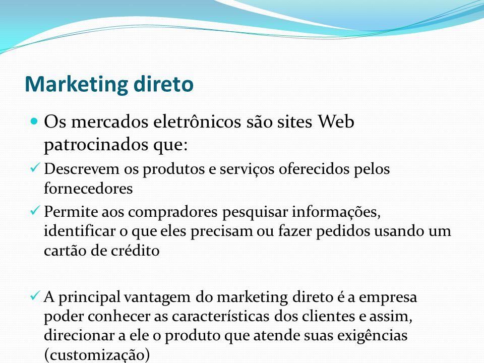 Marketing direto Os mercados eletrônicos são sites Web patrocinados que: Descrevem os produtos e serviços oferecidos pelos fornecedores.