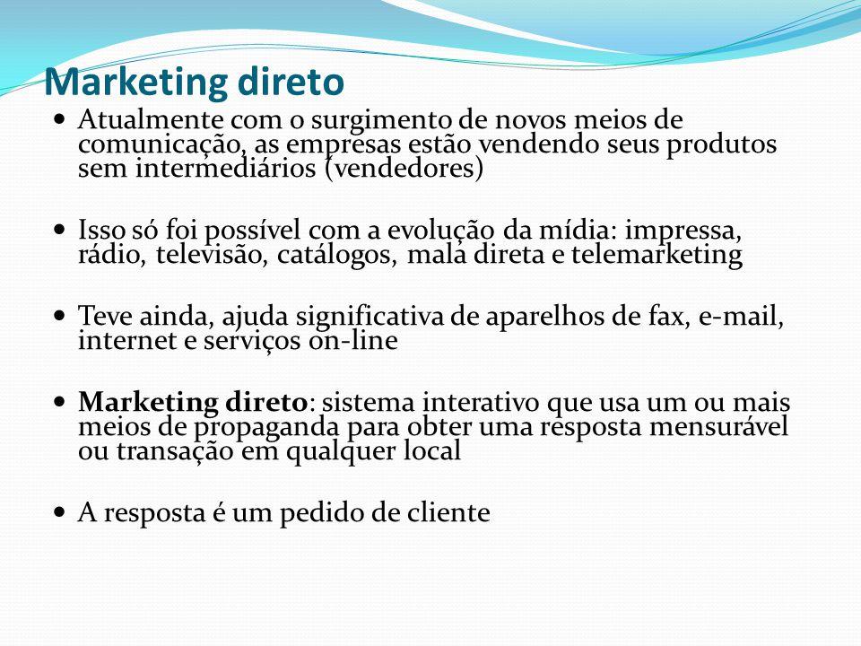 Marketing direto Atualmente com o surgimento de novos meios de comunicação, as empresas estão vendendo seus produtos sem intermediários (vendedores)